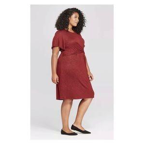 Ava & Viv Twist Front Midi Red Black Flowy  Dress
